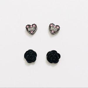 Black Rose & Love Heart Cake Magnetic Earrings Set